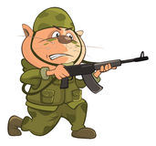 Illustration von netten Cat Special Forces Cartoon Character Lizenzfreie Stockfotos