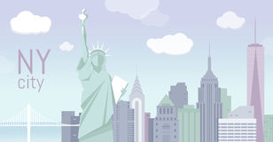 Illustration von New York City, flache Landschaft Lizenzfreies Stockbild