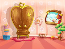 Illustration von Prinzessinschlafzimmern in der Karikaturart Stockbild