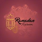 Illustration von Ramadan-kareem und von Ramadane Mubarak mit Laterne Traditionelle Grußkarte wünscht heiligen Monat Lizenzfreies Stockfoto