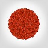 Illustration von rundem von den roten Rosen vektor abbildung