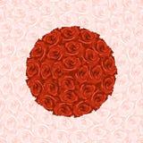 Illustration von rundem von den roten Rosen auf dem Hintergrund gemacht vom Stift vektor abbildung