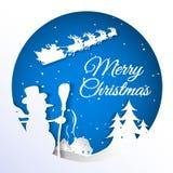 Illustration von Santa Claus auf dem Himmel, der zum Dorf, Papierkunst kommt lizenzfreie abbildung