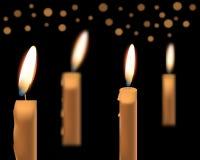 Illustration von schönen glühenden Kerzen mit geschmolzenem Wachs Lizenzfreie Stockfotos