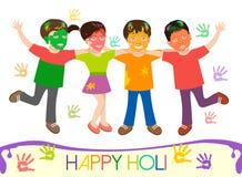 Illustration von schmutzigen Kindern in den verschiedenen Farben, die Holi spielen Lizenzfreies Stockbild