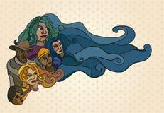 Illustration von stilisierten Leuten, Arbeitskräfte Lizenzfreies Stockfoto