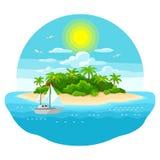 Illustration von Tropeninsel im Ozean Gestalten Sie mit Ozean, Palmen und Yacht landschaftlich Mehr in meinem Portefeuille vektor abbildung