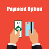Illustration von verschiedenen Arten Barzahlung und Karte Stockfotos