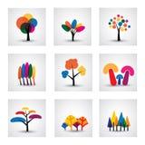 Illustration von verschiedenen Arten von Vektorbaumikonen Stockfotos