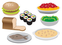 Illustration von verschiedenen Lebensmittel-Ikonen Stockfoto