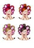 Illustration von vier Mädchen mit dem Haar rollt - Raster-Illustration Stockfoto