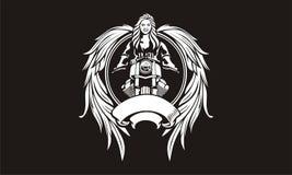 Illustration von weiblichen Radfahrern mit Flügelgöttin Lizenzfreie Stockbilder
