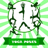 Illustration von Yoga wirft Schattenbild auf Yoga posiert Schattenbild lizenzfreie abbildung