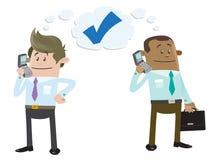 Geschäfts-Freunde machen ein Abkommen am Telefon stock abbildung