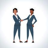 Illustration von zwei Geschäftsfrauen, die Hände rütteln Lizenzfreie Stockfotos