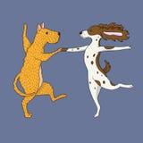 Illustration von zwei tanzenden Hunden Lizenzfreie Stockbilder