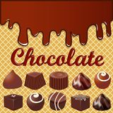 Waffle background with smudges of chocolate an. Illustration of a waffle background with smudges of chocolate and a set of chocolates Stock Images