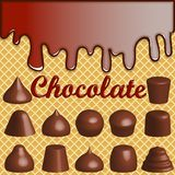 Waffle background with smudges of chocolate an. Illustration of a waffle background with smudges of chocolate and a set of chocolates Royalty Free Stock Photos