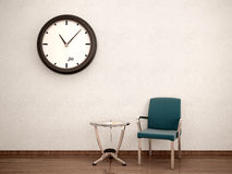 Illustration of Waiting room. Chair, table, clock Stock Photos