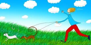Illustration of walking the dog Royalty Free Stock Photo