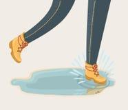 Illustration of walking through puddle and splashig  Royalty Free Stock Photos