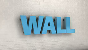 Illustration of WALL word, business concept. 3d illustration of WALL word on the wall, business concept Stock Photo