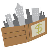 Illustration wallet business building city Stock Photo