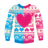 Illustration of warm sweater with owls and hearts. Pink-Blue ver Royalty Free Stock Image