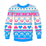 Illustration of warm sweater with owls and hearts. Pink-Blue version. May be used for winter design, cards, posters and many other Stock Image