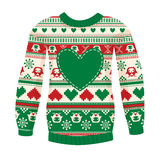 Illustration of warm sweater with owls and hearts. Red-Green ver Royalty Free Stock Photography