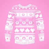 Illustration of warm sweater with owls and hearts Stock Images