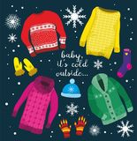Illustration of warm winter clothes. Royalty Free Stock Photo