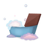 Illustration washboard, foam and basin Stock Image