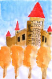 Illustration water color The autumn Castle Stock Image