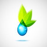 Water and Leaf Icon Stock Image