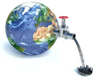 Illustration of water tap mounted on realistic planet. Earth dripping with oil isolated on white background Royalty Free Stock Photography