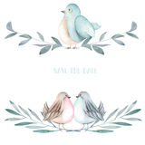 Illustration of the watercolor cute birds on the branches