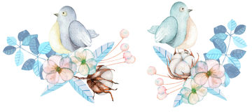 Illustration of the watercolor cute birds with tender blue posies Stock Photos