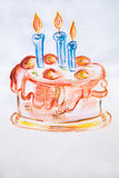 Illustration watercolor Delicious cake with whipped cream and three candles Stock Image