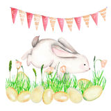 Illustration of watercolor Easter rabbit in grass, bird eggs and festive garland with flags. Hand drawn isolated on a white background Stock Images