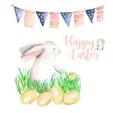 Illustration of watercolor Easter rabbit in grass, bird eggs and festive garland with flags. Hand drawn isolated on a white background Stock Photography