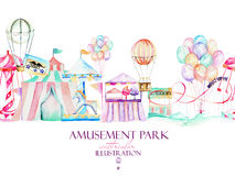 Illustration with watercolor elements of amusement park Stock Images