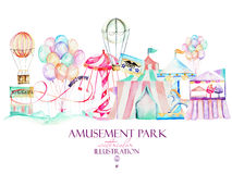 Illustration with watercolor elements of amusement park, hand drawn isolated on a white background. Decor print, can be used for the logo, symbol, mark Stock Photography