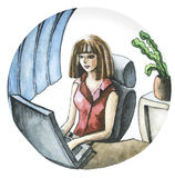 Illustration watercolor girl in the office Royalty Free Stock Photo