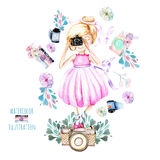 Illustration of watercolor Girl-photographer, retro cameras and floral elements. Hand painted isolated on a white background Stock Photo