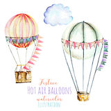 Illustration with watercolor hot air balloons with flags. Hand drawn isolated on a white background Royalty Free Stock Images