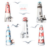 Illustration with watercolor lighthouses and seagulls Stock Photo