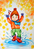 Illustration watercolor. Little girl in hat and rubber boots, with a ship in his hand, splashing in a puddle of autumn. Stock Image