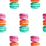 Illustration watercolor pattern macaroons. On white background royalty free illustration