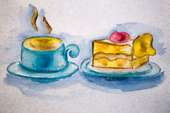 Illustration watercolor piece of cake and a cup of tea Stock Photos